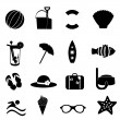 Royalty-Free Stock 矢量图片: Beach and summer icons on white