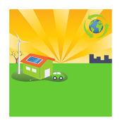 Energy Efficient Green Lifestyle — Stock Vector