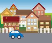 Sessiz mahallede banliyö evleri — Stok Vektör