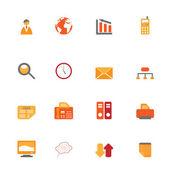 Business symbols in orange tones — Stock Vector