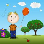 Child holding a balloon — Stock Vector