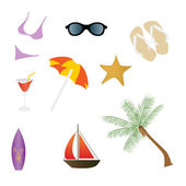 Beach and Summer Icons — Stock Vector
