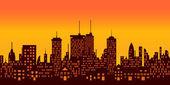 Sunset over big city — Stock vektor
