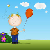 Happy boy holding a balloon — Stock Vector