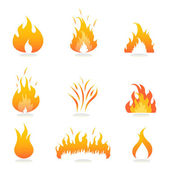 Flames and fire signs — Stock Vector