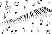Music notes and piano keys — Stock Vector