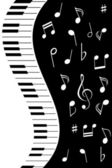 Music notes with piano — Stock Vector