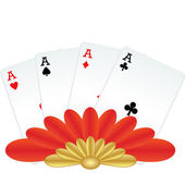 Four of a kind poker hand — Stock Vector