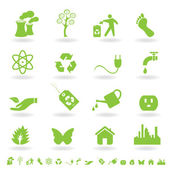 Green eco icon set — Vector de stock