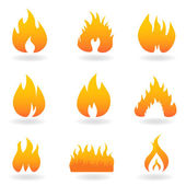 Various flame and fire icons — Stock Vector