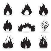 Flame and fire symbols — Stock Vector
