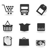 Shopping icons in grayscale — Stock Vector