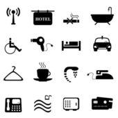 Iconos hotel en negro — Vector de stock