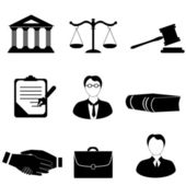 Justicia, legal y derecho iconos — Vector de stock
