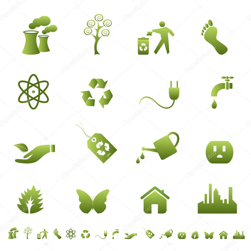 Clean environment and ecology symbols and signs — Stock Vector #5984551
