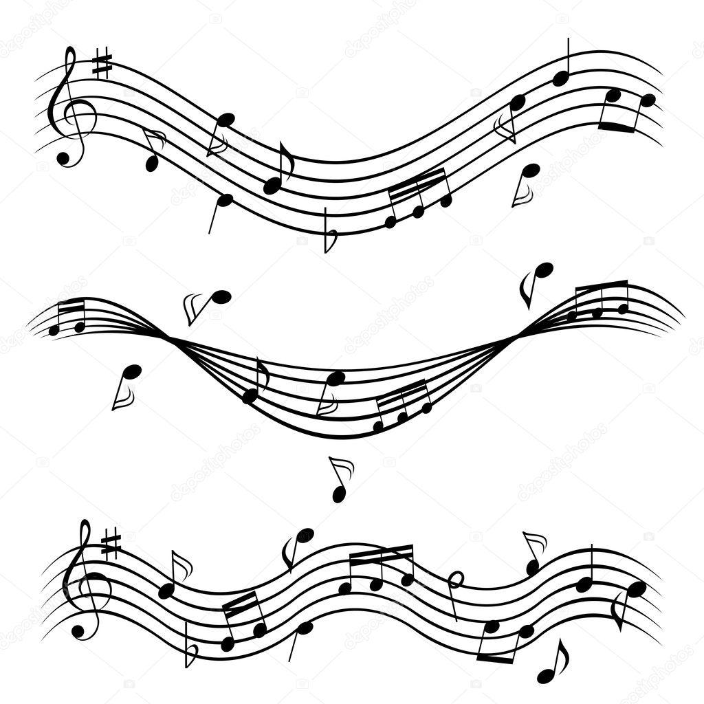 Notas musicales en pentagrama — Vector de stock © soleilc #5985088