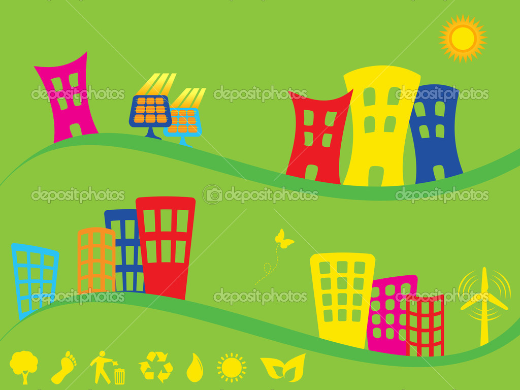 Green city using alternative energy sources — Stock Vector #5985095