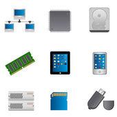 Computer parts icon set — Stock Photo