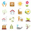 Eco and environment icons - Stock Photo