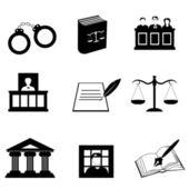 Justitie en juridische pictogrammen — Stockfoto