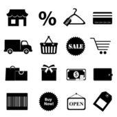Zakupy zestaw ikon pokrewnych — Zdjęcie stockowe