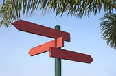 Direction signs in redwood — Stock Photo