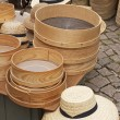 Stock Photo: Straw hats and baskets