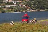 Firefighting helicopter - Crew — Stock Photo