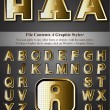 Vector de stock : Metal Gold Emboss Alphabet