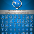 Stockvector : Blue Alphabet with Silver Emboss Stroke