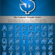 Blue Alphabet with Silver Emboss Stroke — Wektor stockowy #6502369