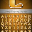 Stockvector : Orange Alphabet with Silver Emboss Stroke