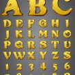 Set Gold 3D Alphabet - Stock Vector