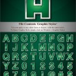 Stockvector : Green Alphabet with Silver Emboss Stroke