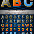 Vector de stock : Multi Layer Emboss Alphabet With Halftone Fill