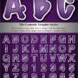 Stock Vector: Purple Alphabet with Silver Emboss Stroke