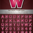 Vector de stock : Pink Alphabet with Silver Emboss Stroke