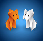 Origami Couple Dog — Stock Vector