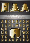 Metal Gold Emboss Alphabet — Cтоковый вектор
