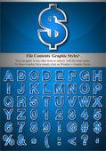 Blauwe alfabet met silver emboss beroerte — Stockvector