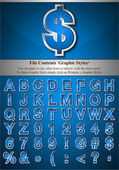 Niebieski alfabet z srebra płaskorzeźba obrysu — Wektor stockowy