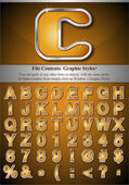 Orange Alphabet with Silver Emboss Stroke — Stockvektor