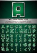 Alfabeto verde con plata realza el movimiento — Vector de stock
