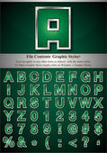Alphabet vert avec de l'argent emboss avc — Vecteur