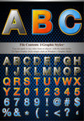 Multi Layer Emboss Alphabet With Halftone Fill — Stockvektor