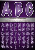 Fioletowy alfabet z srebra płaskorzeźba obrysu — Wektor stockowy