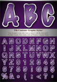 Purple Alphabet with Silver Emboss Stroke — Stock Vector