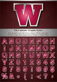 Alfabeto rosa con plata realza el movimiento — Vector de stock