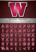 Różowy alfabet z srebra płaskorzeźba obrysu — Wektor stockowy