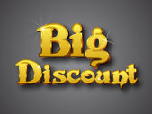 Big Discount Write in Big Gold 3D Font — Stock Vector